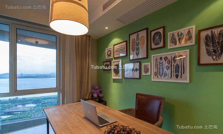 绿色美式书房装饰美图