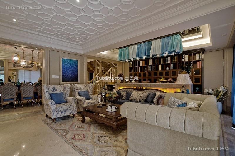 美式风格设计复式家居装修效果图