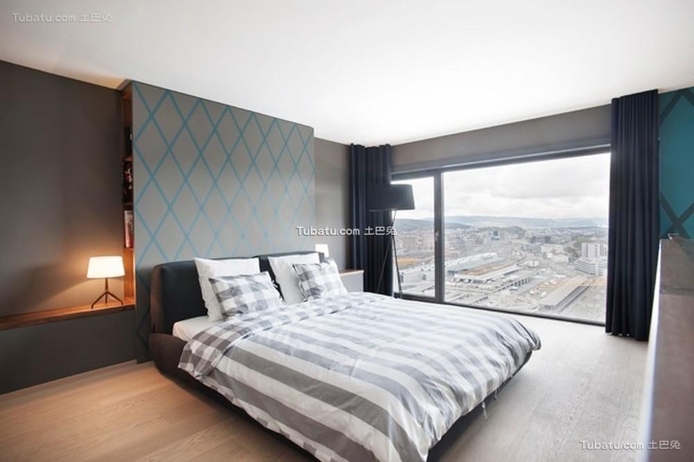 现代深灰色摩登卧室布置