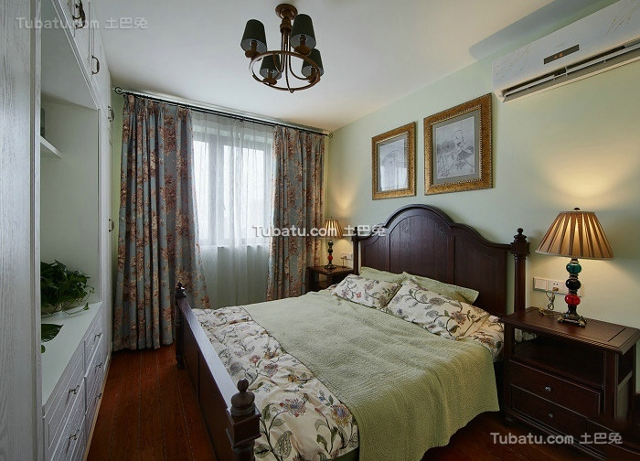 美式复古家居卧室设计装修效果图