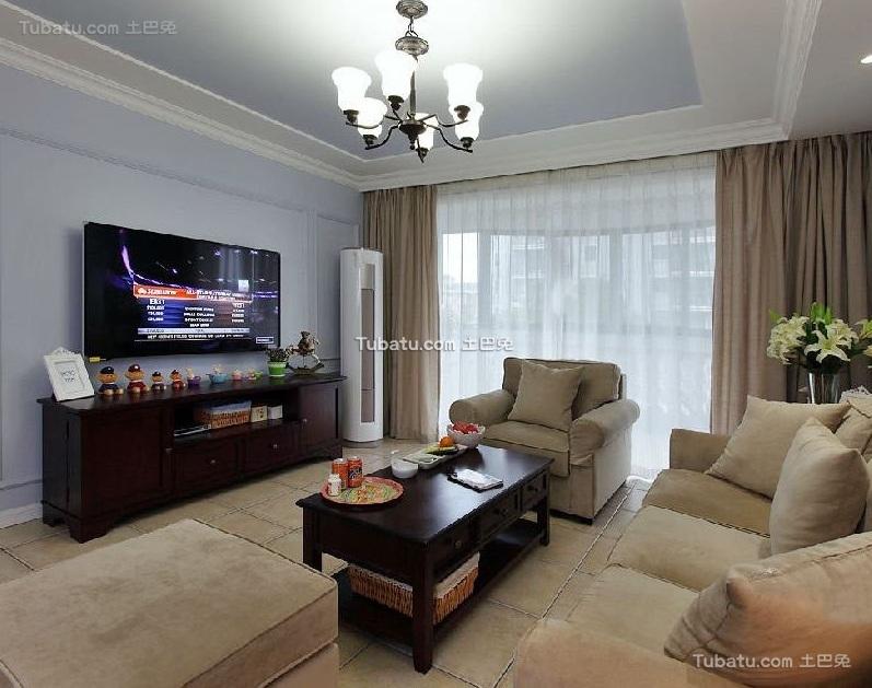 美式风格设计三居室装修效果图片