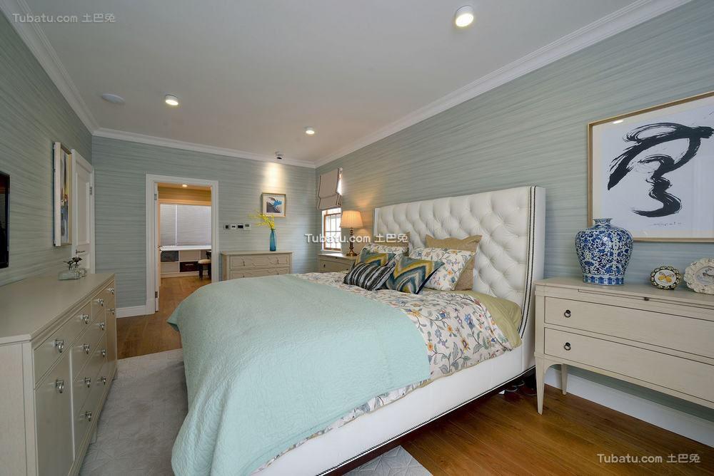 美式时尚复古别墅室内卧室效果图