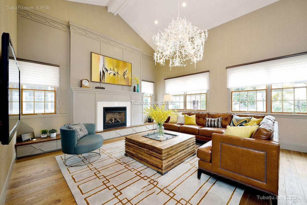 美式时尚复古别墅室内装修效果图