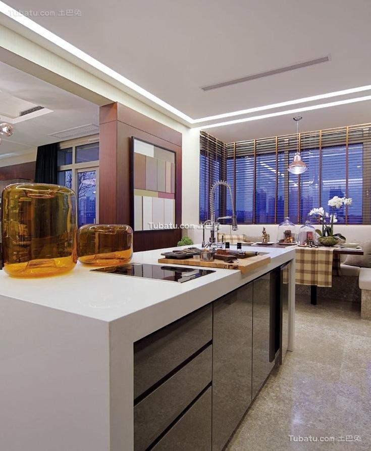 清新现代设计公寓吧台效果图
