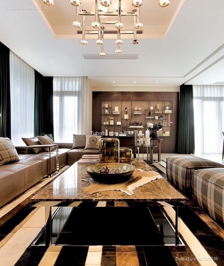清新现代设计客厅装修效果图