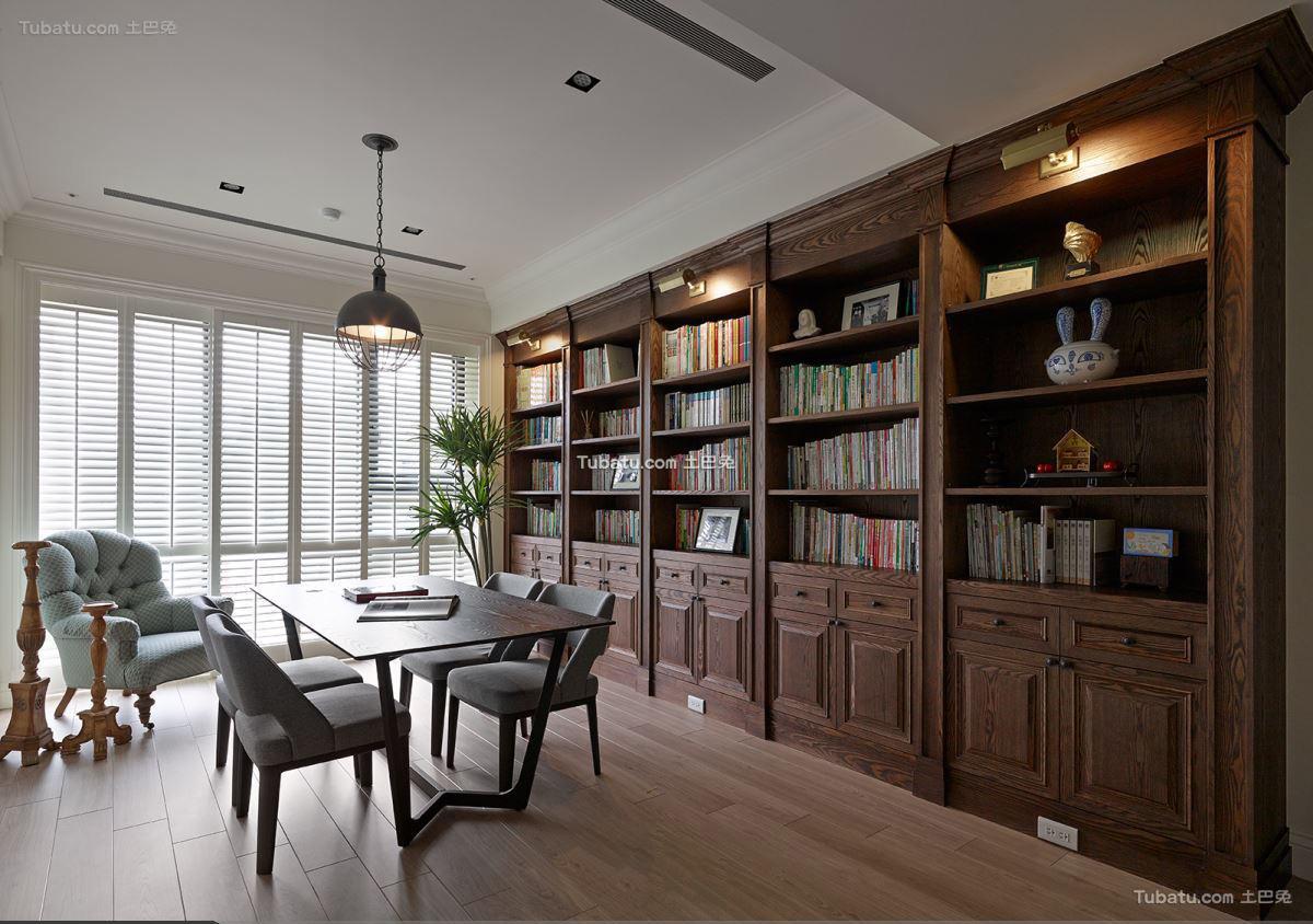 美式古典风格书房空间装修图片