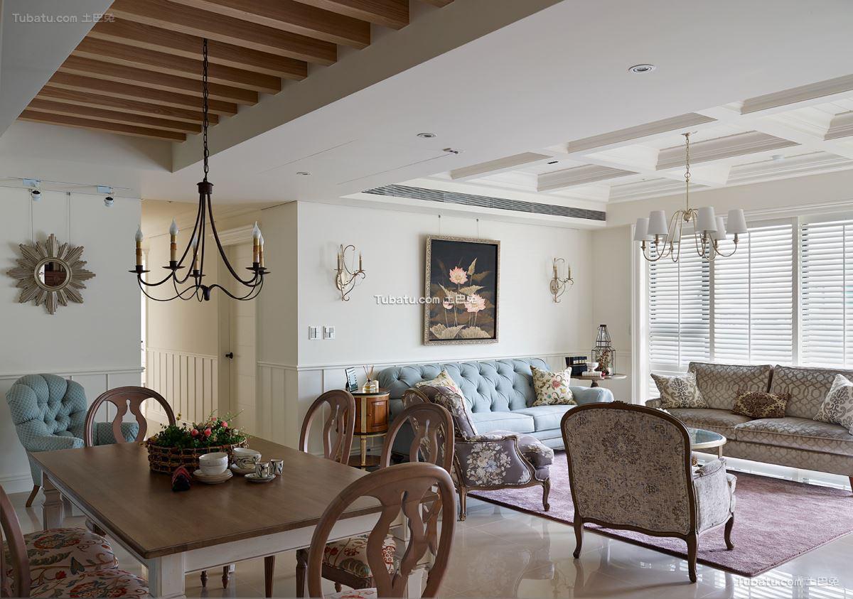 美式古典风格设计室内餐厅装修图片