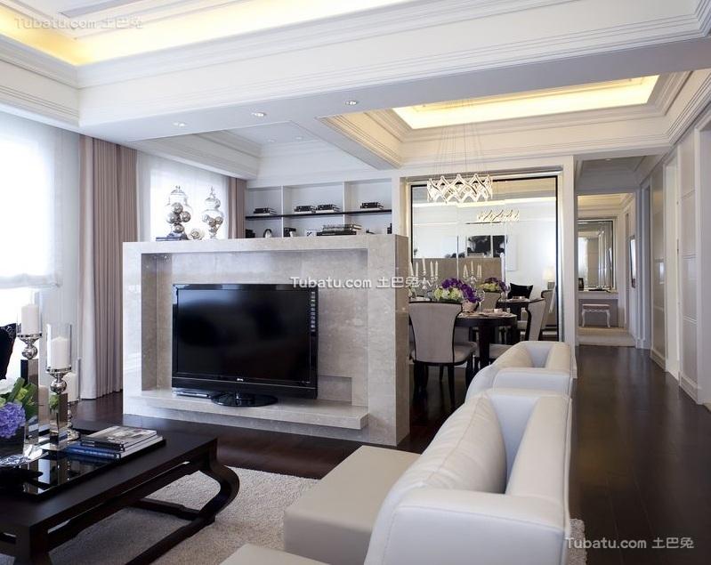 纯白时尚现代客厅设计装修图片