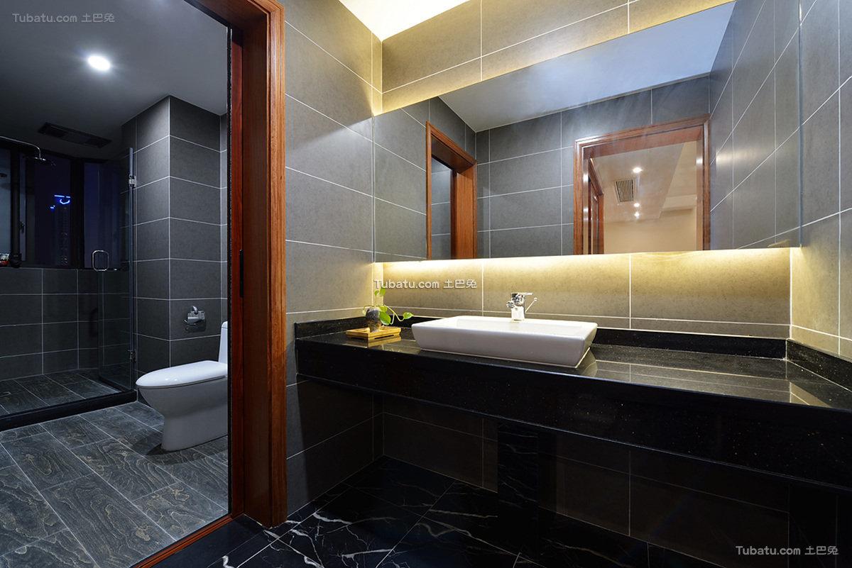 黑色现代中式卫生间