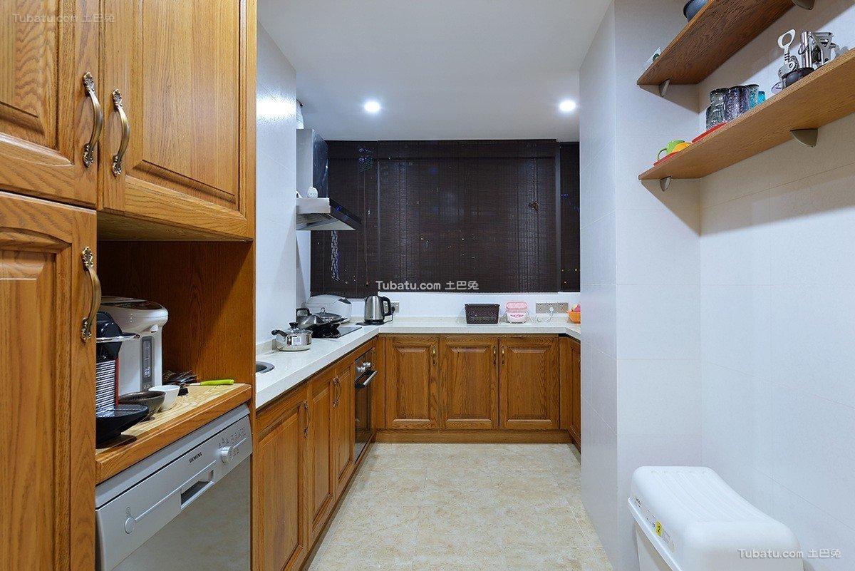 L型简中式厨房效果图