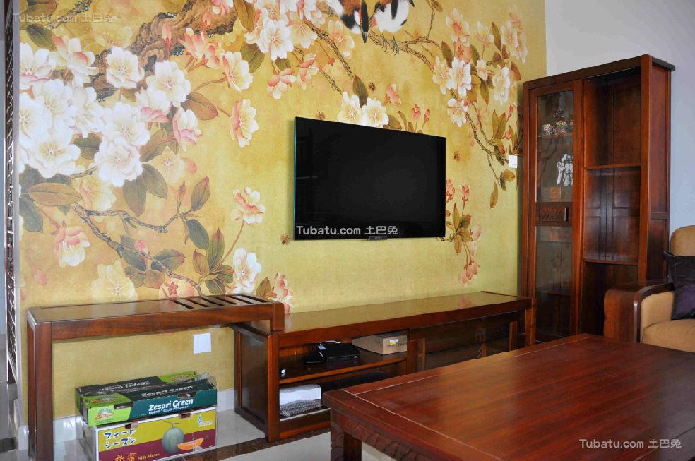 黄色印花中式背景墙