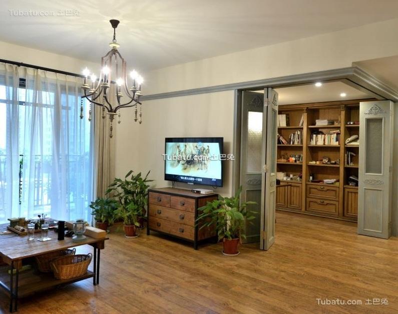 田园美式风格公寓客厅设计效果图片