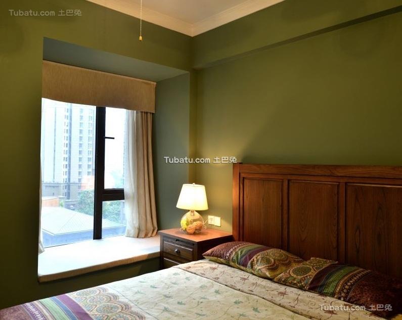 田园美式风格卧室飘窗设计效果图片