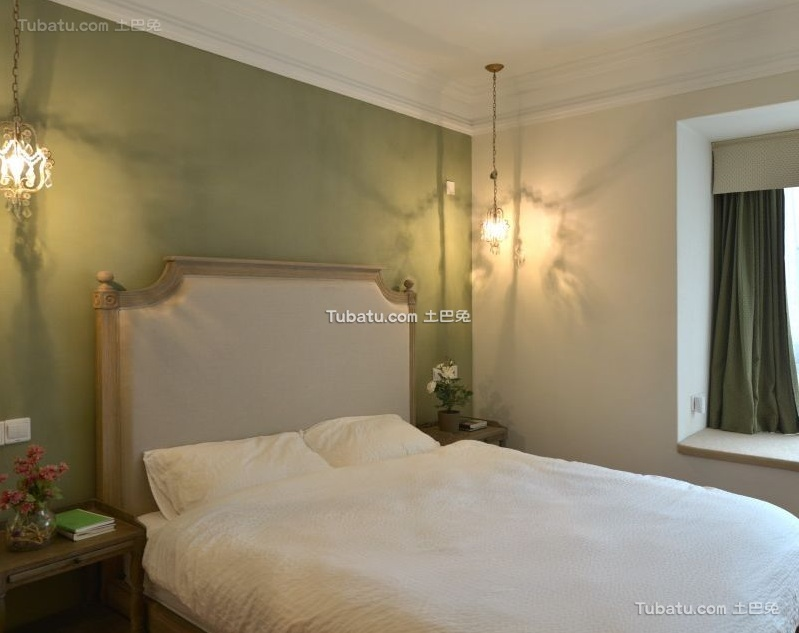田园美式风格公寓卧室设计效果图片