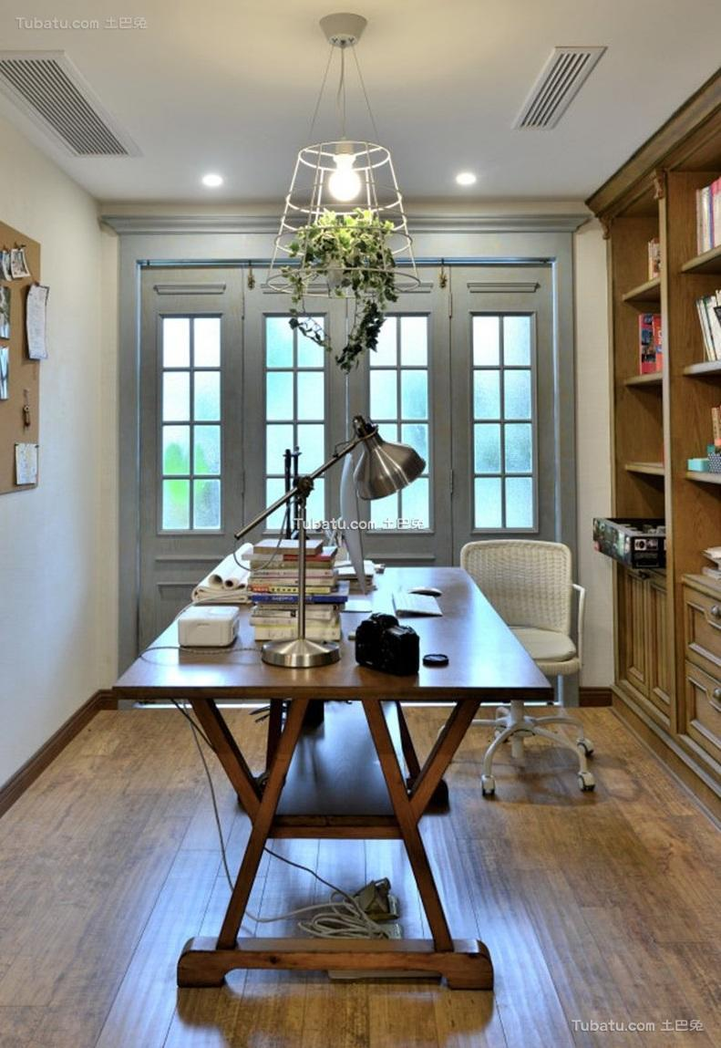田园美式风格公寓室内书房效果图片