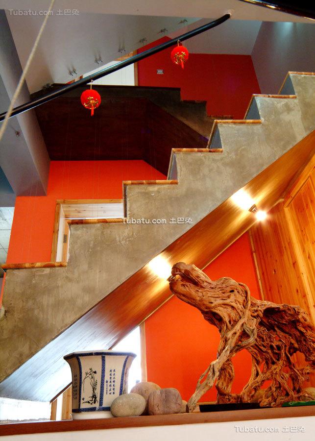 中式田园创意水泥楼梯装饰