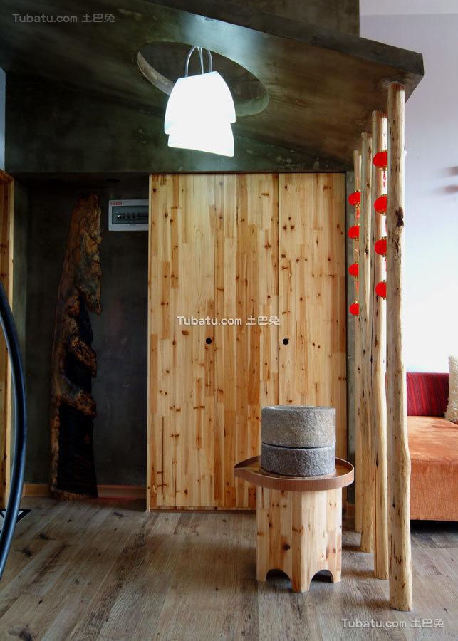 中式田园松木玄关设计