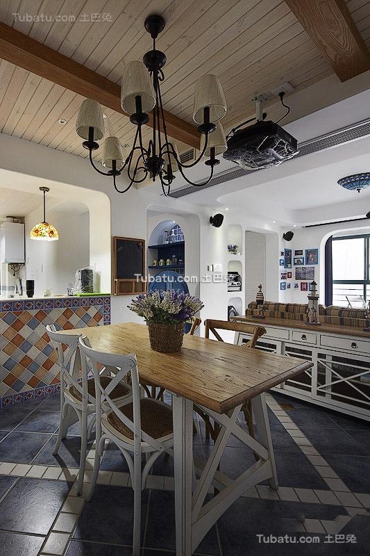 地中海风格室内餐厅设计装修图片欣赏
