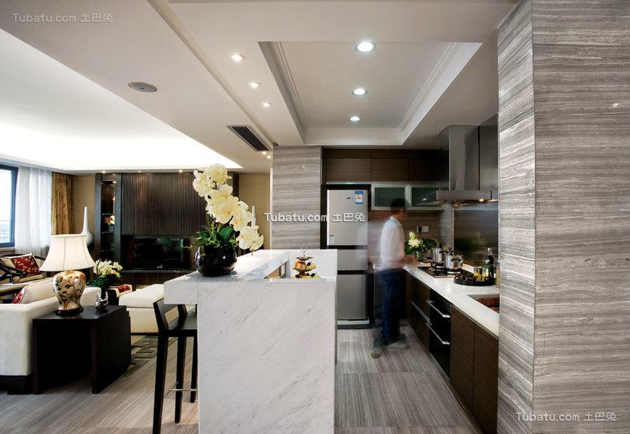 现代中式开放式家装厨房