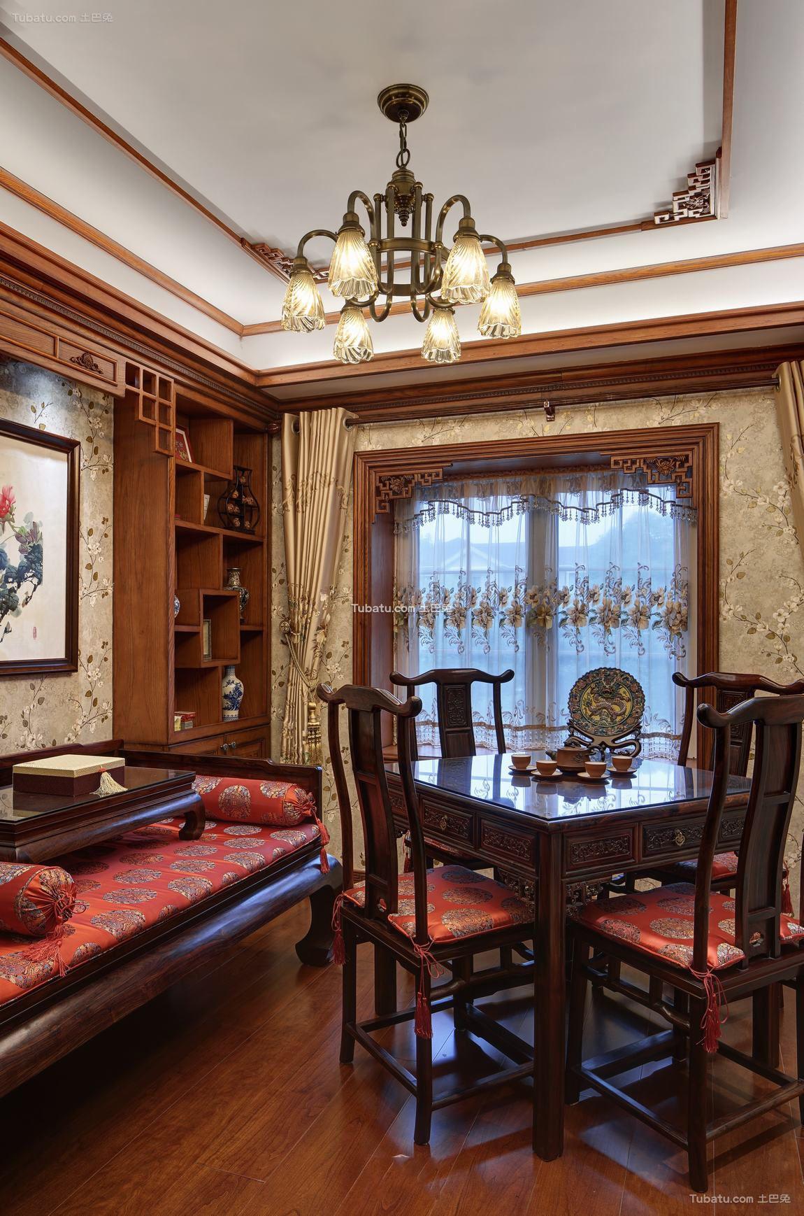 豪华复古美式别墅餐厅效果图