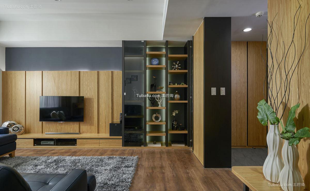 宜家风格设计木制电视背景墙效果图片