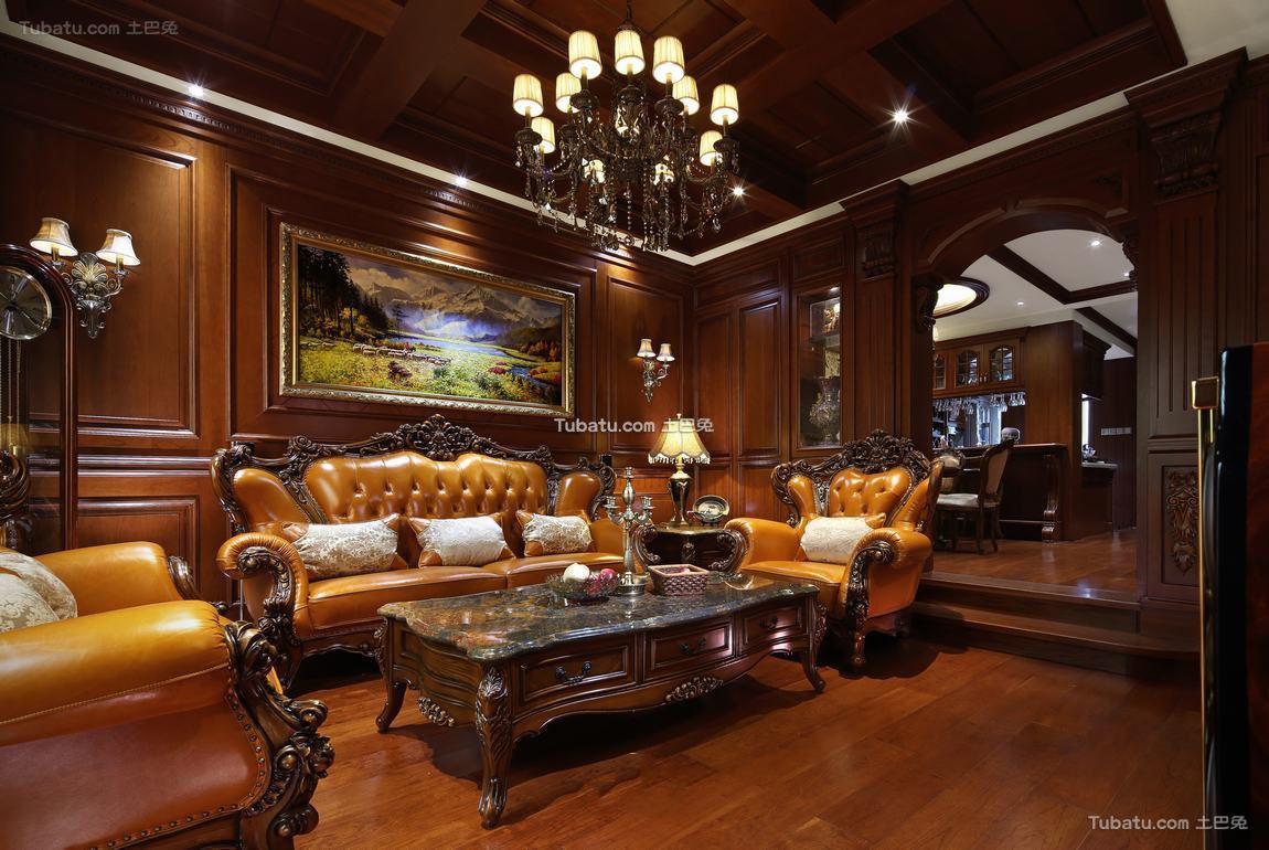 豪华复古美式别墅设计装修效果图