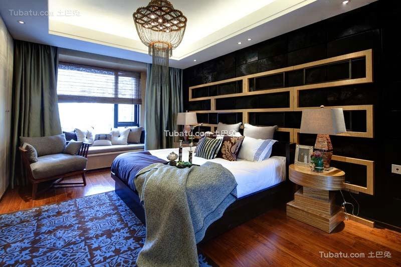 中式现代家居卧室设计效果图片