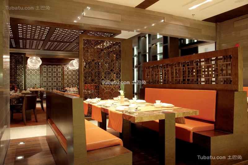 中式餐厅座位设计装修图片