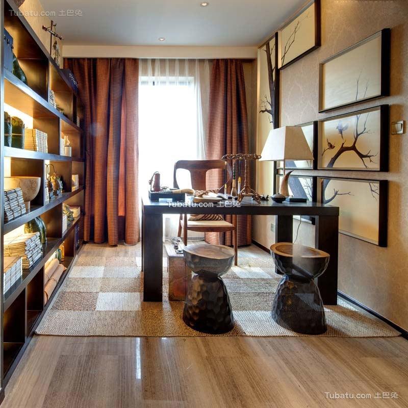 中式现代书房设计装修效果图片