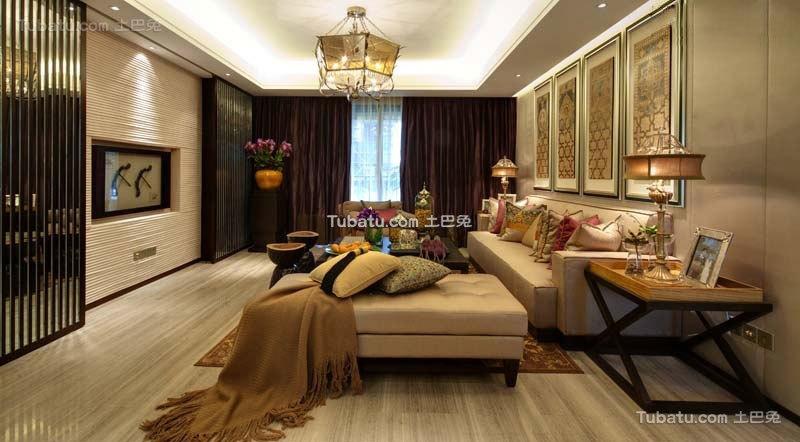 中式现代四居室设计装修效果图片
