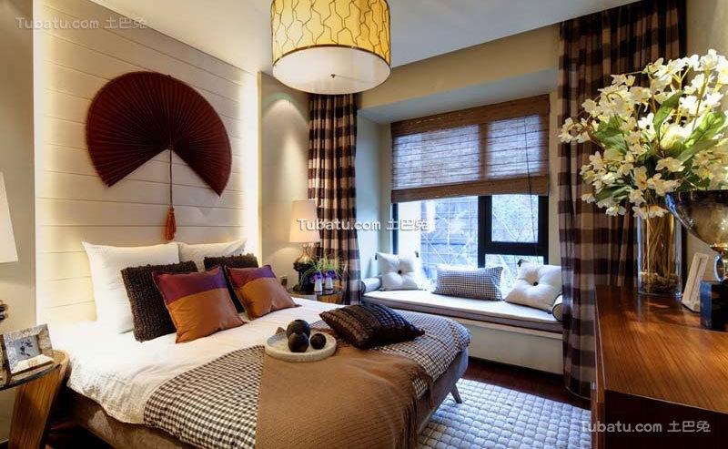中式现代卧室设计装修效果图片