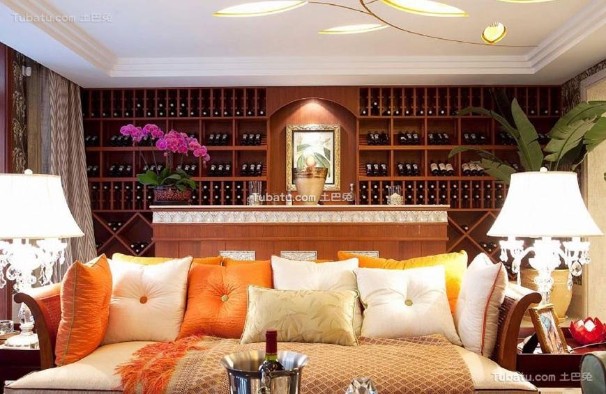 东南亚风格室内装饰实木酒柜图片