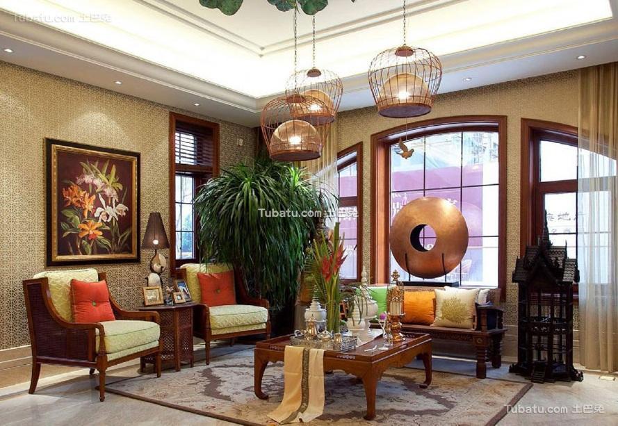 东南亚风格设计别墅客厅效果图片