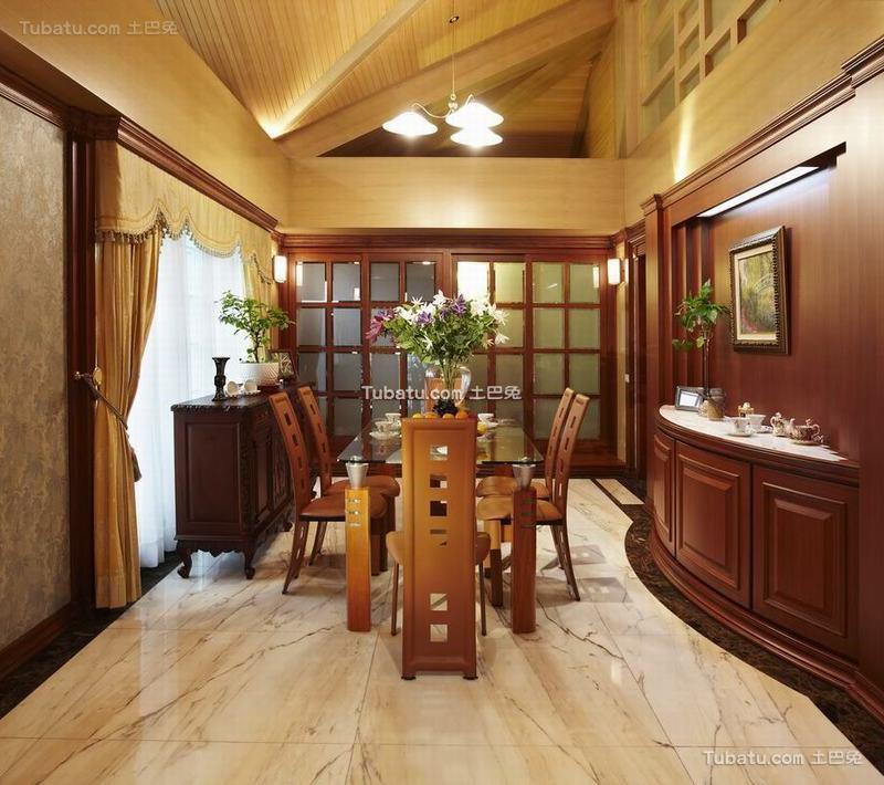 古典欧式别墅室内餐厅设计效果图片