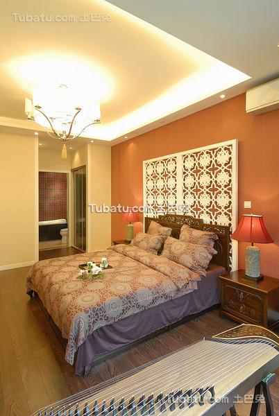 橙色新中式卧室设计