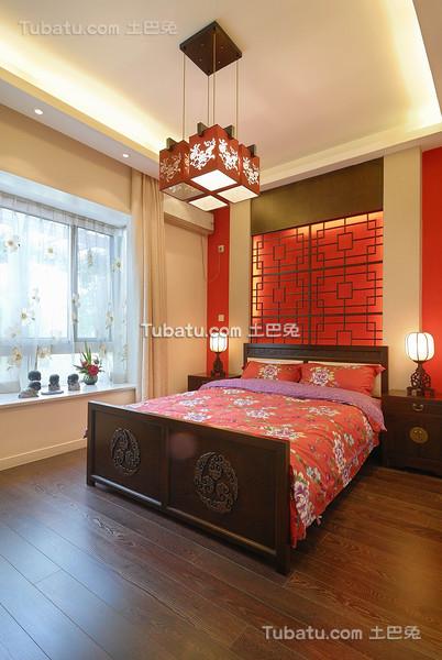 红色喜庆新中式卧室