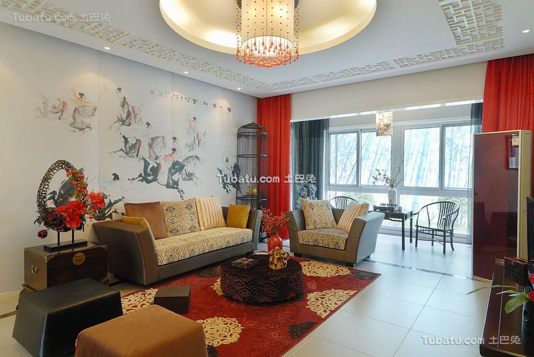 喜庆新中式客厅布置