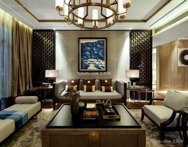 中式风格现代三居室设计装修效果图