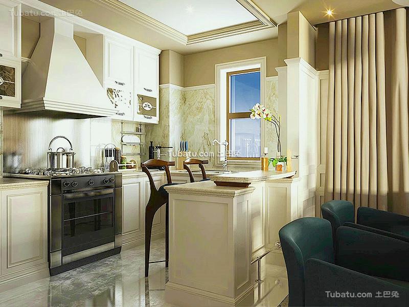 现代开放式装修厨房