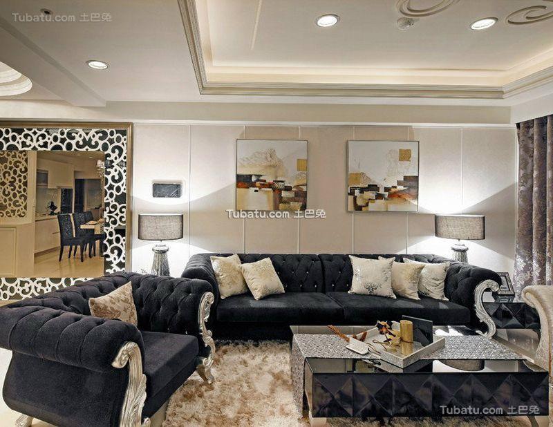 时尚欧式设计客厅装修效果图片