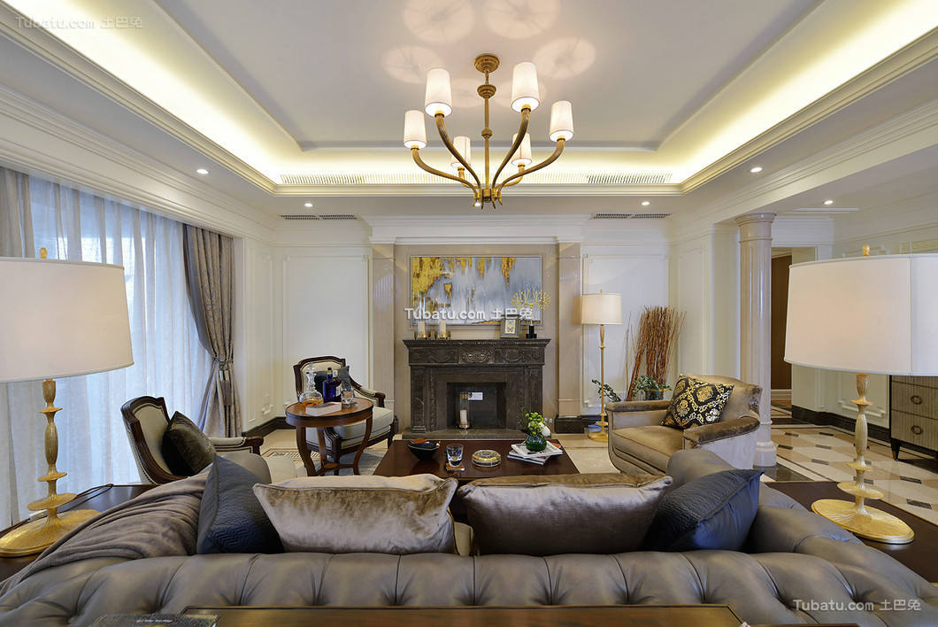 美式复古别墅室内客厅效果图片
