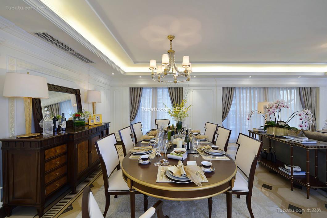 时尚美式别墅室内餐厅装饰效果图片