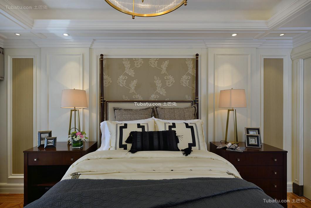 时尚美式复古别墅室内卧室效果图片