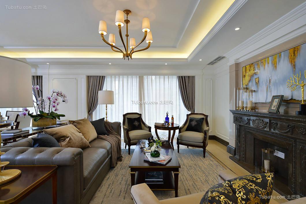 时尚美式复古别墅室内设计装饰效果图片