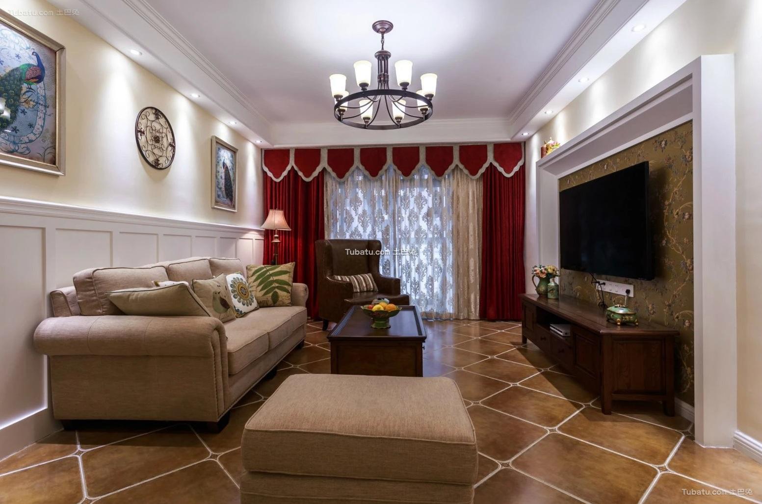 美式设计两居室装修效果图