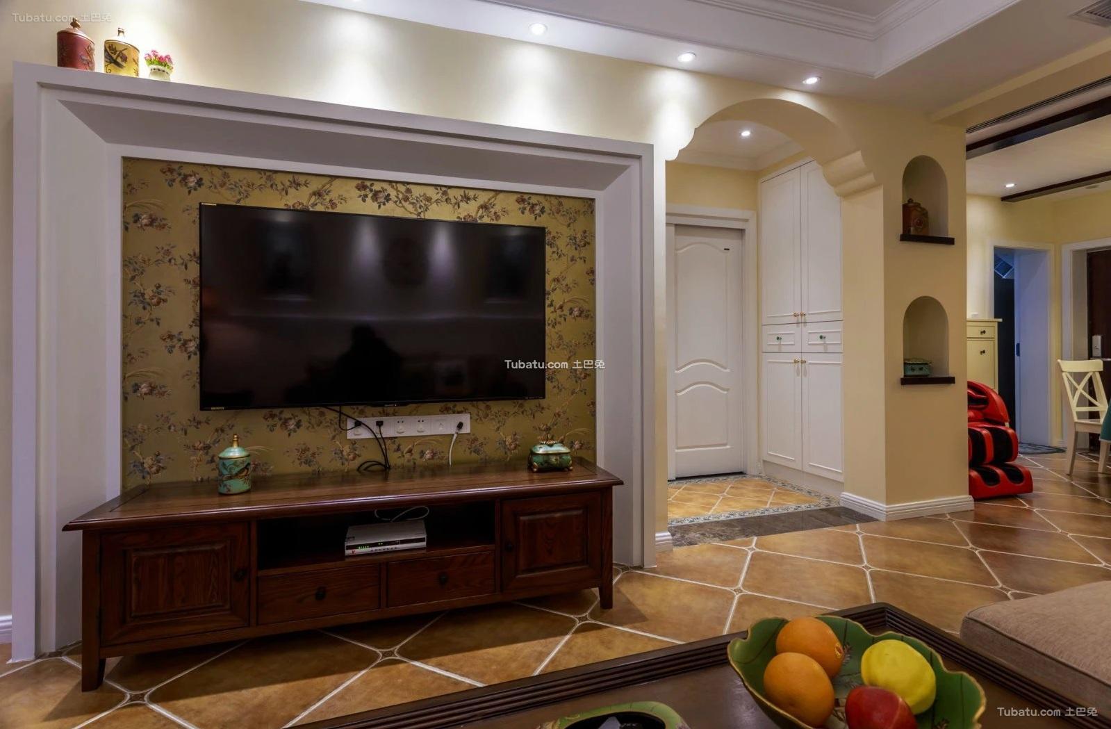 美式设计家装电视背景墙装修效果图