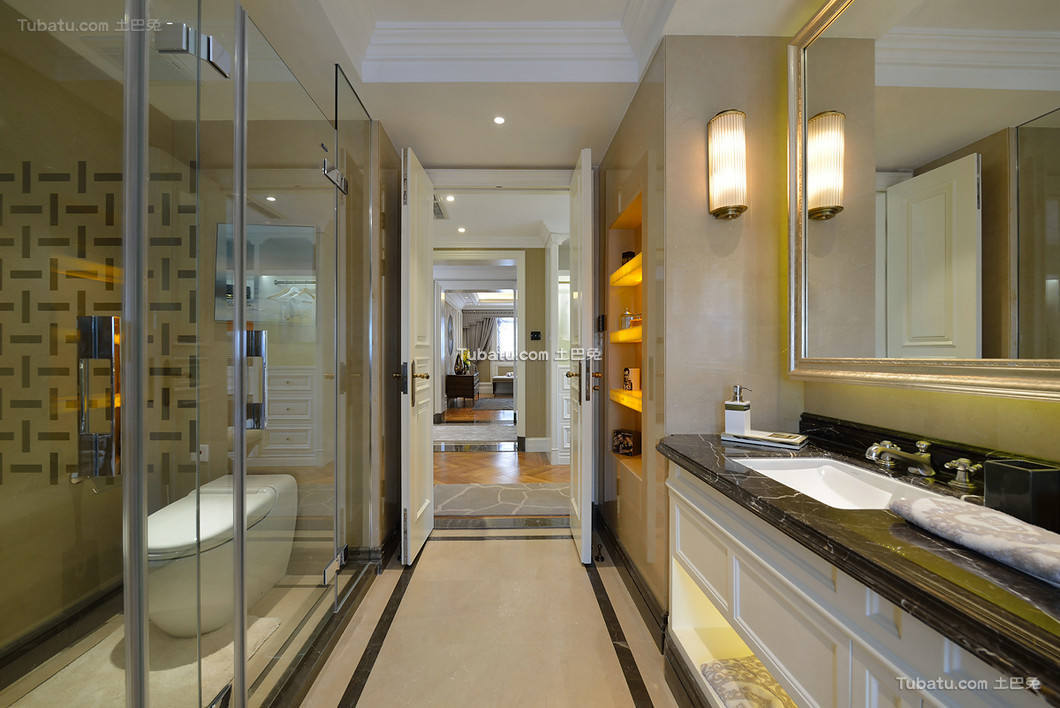 时尚美式别墅卫生间设计装饰效果图片