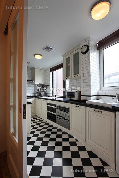 时尚黑白美式厨房装潢