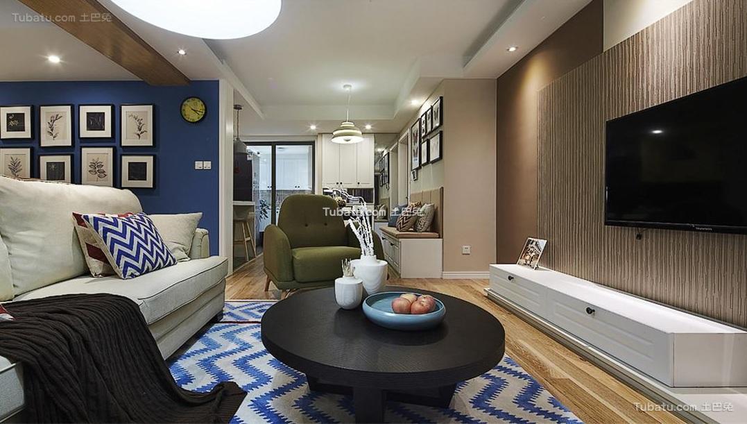 美式风格室内客厅设计装修效果图片