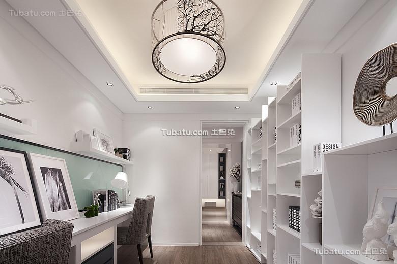 时尚简约白色书房装潢
